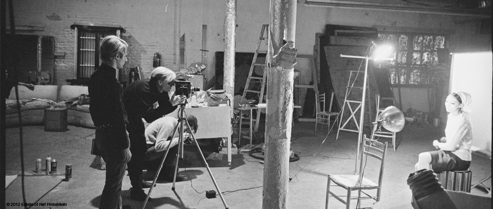 Image of Andy Warhol creating a Screen Test by Nat Finklestein